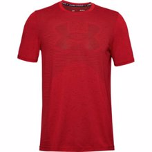 UA Seamless Logo Short Sleeve T-Shirt, Lichen Versa Red/Black