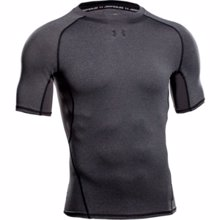 UA HeatGear Armour Compression Men's T-Shirt, Carbon Heather/Gray