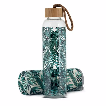 Zoe Bambus Glasflasche, Tropisches Grün, 500 ml