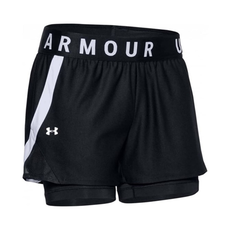 UA Women's Play Up 2-in-1 Shorts, Black/White