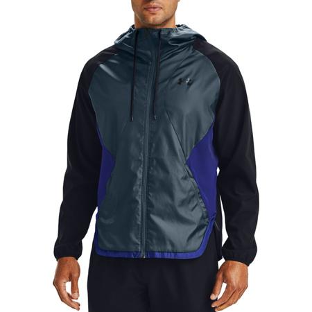 UA Stretch Woven Jacket, Black/Mechanic Blue