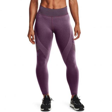 UA Women's Rush Seamless 7/8 Leggings, Polaris Purple/Black