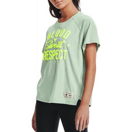 UA Women's Project Rock BSR SS Shirt, Fisher Green/Yellow