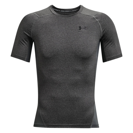 UA HeatGear SS Compression Shirt, Carbon Heather/Black