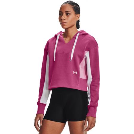 UA Rival Fleece Embroidered Hoodie, Pink Quartz/Planet Pink