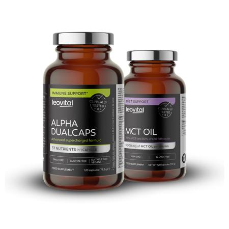 Alpha Dualcaps, 120 kapsul + MCT Oil + Caffeine, 90 kapsul GRATIS