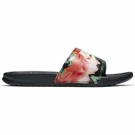 "Nike Benassi ""Just Do It"" Women's Sandals, Black/Green Glow"