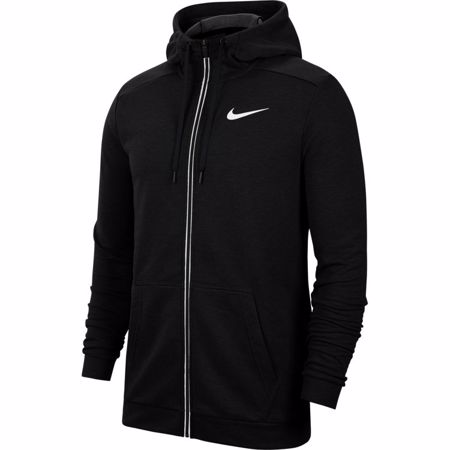 Nike Dri-Fit Full-Zip Fleece Hoodie, Black/White