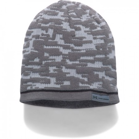 UA Reversible Graphic Beanie, Steel/Stealth Gray