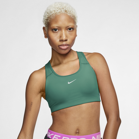 Nike Swoosh Women's Medium-Support Sports Bra, Neptune Green/White