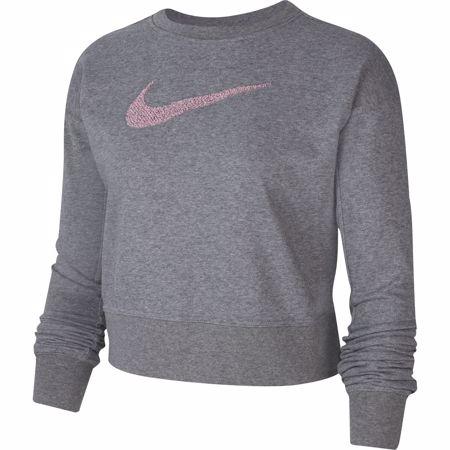 Nike Dri-Fit Get Fit Women's Swoosh Training Crew, Carbon Heather