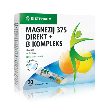 Magnezij 375 Direkt + B kompleks, 20 vrećica