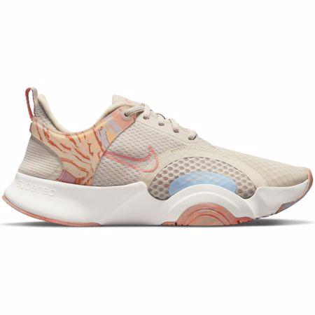 Nike SuperRep GO 2 Women's Shoes, Desert Sand/White/Light Blue/Crimson