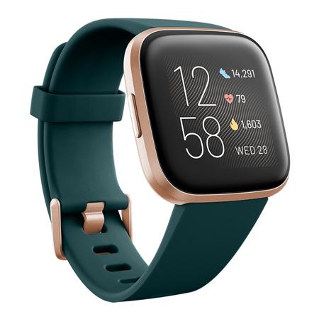 Fitbit Versa 2, Emerald/Copper Rose Aluminum