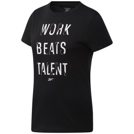 Reebok Work Beats Talent Graphic Short Sleeve Women's Shirt, Black