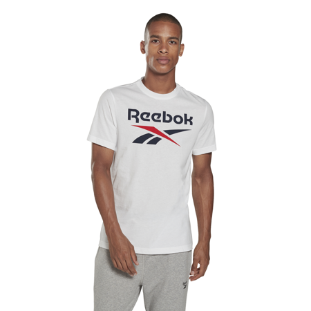 Reebok Graphic Series Stacked Tee, White/Vector Navy