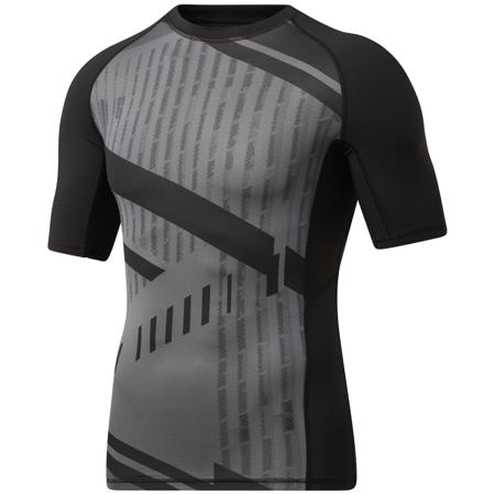 Reebok Printed Compression SS Shirt, Black