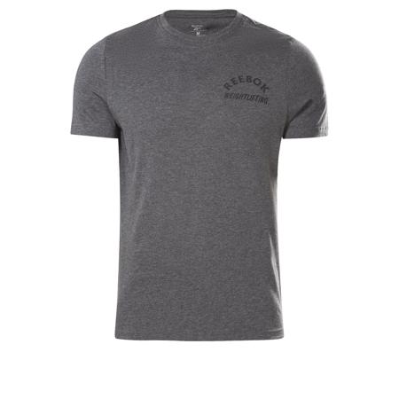 Reebok Weightlifting Short Sleeve Shirt, Dark Grey Heather