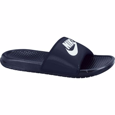 "Nike Benassi ""Just Do It"" Sandals, Midnight Navy/Windchil"
