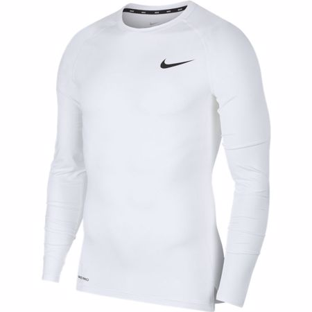 Nike Pro Long-Sleeve Compression Top, White/Black