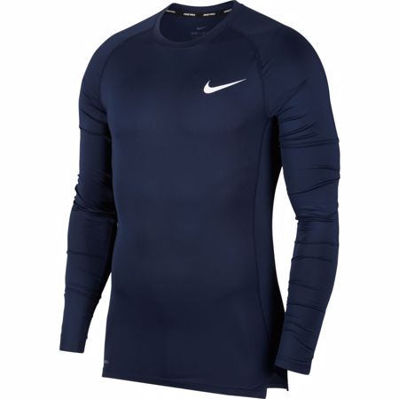 Nike Pro Long-Sleeve Compression Top, Obsidian/White