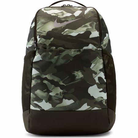 Nike Brasilia 9.0 All Over Print Backpack, White/Sequoia/Metallic Grey