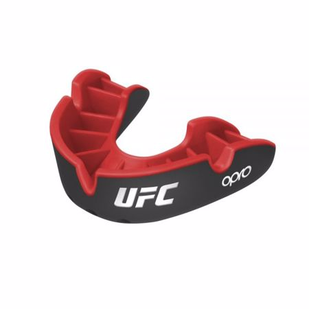 Opro Self-Fit UFC Silver Mouthguard, Black/Red
