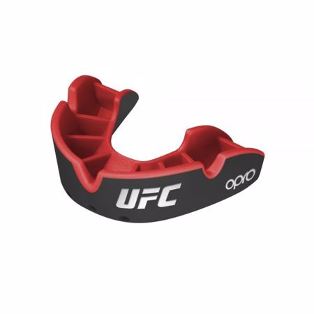 Opro Self-Fit UFC Silver Youth Mouthguard, Black/Red