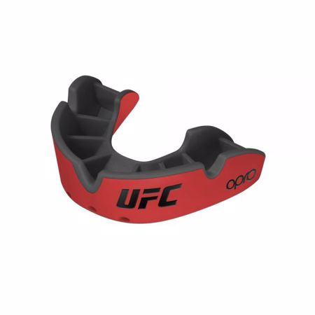 Opro Self-Fit UFC Silver Youth Mouthguard, Red/Black