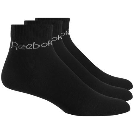 Reebok Active Core Ankle Socks (3 Pair), Black/Black