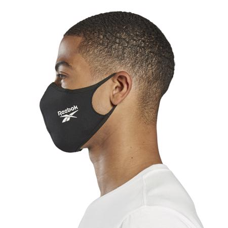 Reebok Face Covers 3 Pack, Black/White