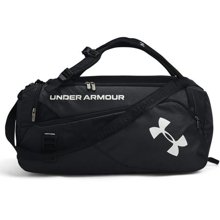 UA Contain Duo Medium Backpack Duffle Bag, Black/Metallic