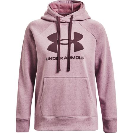 UA Rival Fleece Logo Women's Hoodie, Mauve Pink/Ash Plum