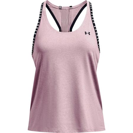 UA Knockout Mesh Back Women's Tank, Mauve Pink/Black