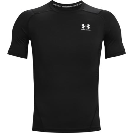 UA HeatGear Compression SS Shirt, Black/White