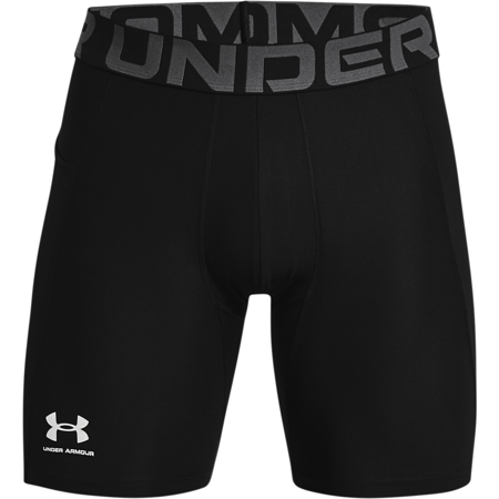 UA HeatGear Compression Shorts, Black/White