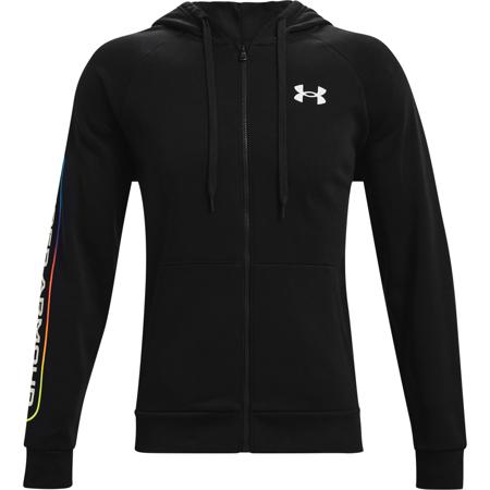 UA Rival Fleece Lockertag Full Zip Hoodie, Black/Onyx White