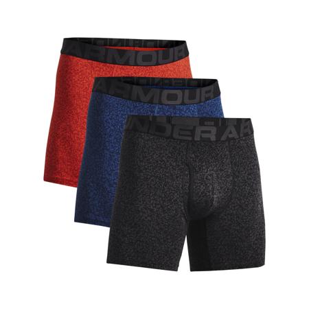 UA Charged Cotton 6in Novelty Boxerjock 3 Pack, Indigo/Radiant Red/Black