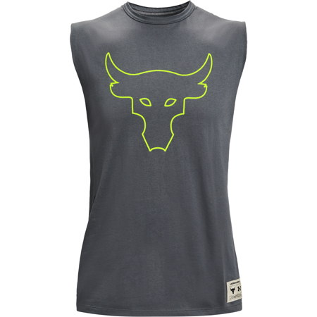 UA Project Rock Show Your Work Tank, Pitch Grey/Yellow