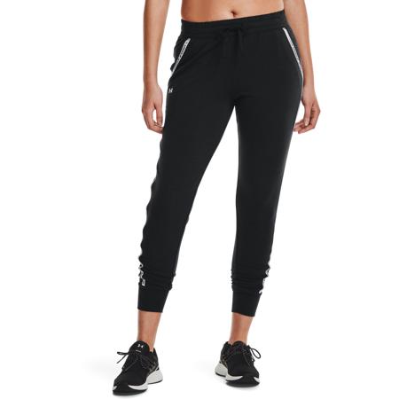 UA Rival Terry Taped Women's Pants, Black/Mod Grey