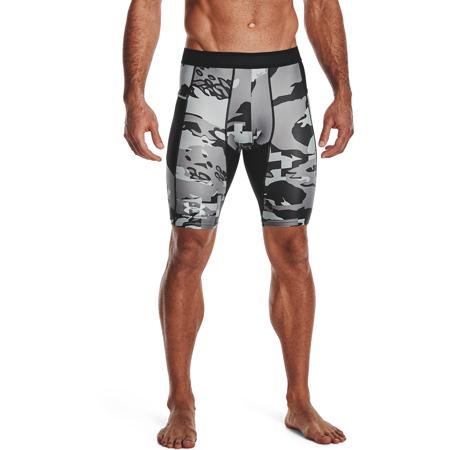 UA Isochill HG Compression Printed Long Shorts, Black/White
