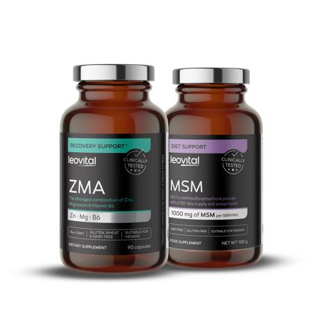 ZMA, 90 kapsul + MSM prah, 150 g GRATIS