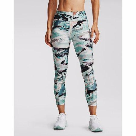 UA HeatGear Armour Printed Ankle Crop Women's Leggings, Seaglass Blue/Purple/White