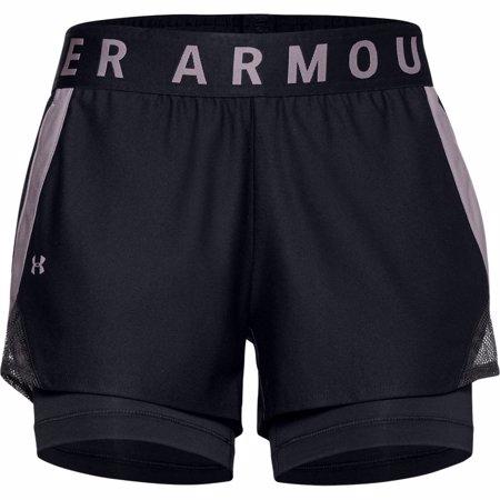 UA Women's Play Up 2-in-1 Shorts, Black/Purple