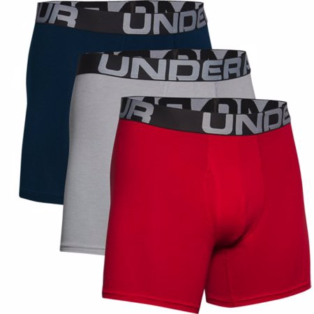 UA Boxerjock Charged Cotton, 3 Pack, Red
