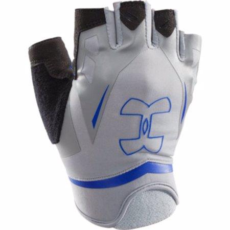 UA Men's Flux Half-Finger Training Gloves, Steel/Royal