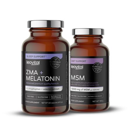 ZMA + Melatonin, 60 kapsula + MSM prah, 150 g GRATIS